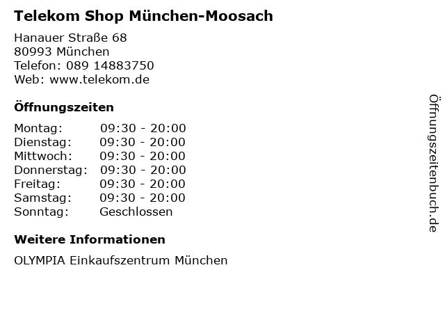 Telekom Shop München-Moosach in München: Adresse und Öffnungszeiten