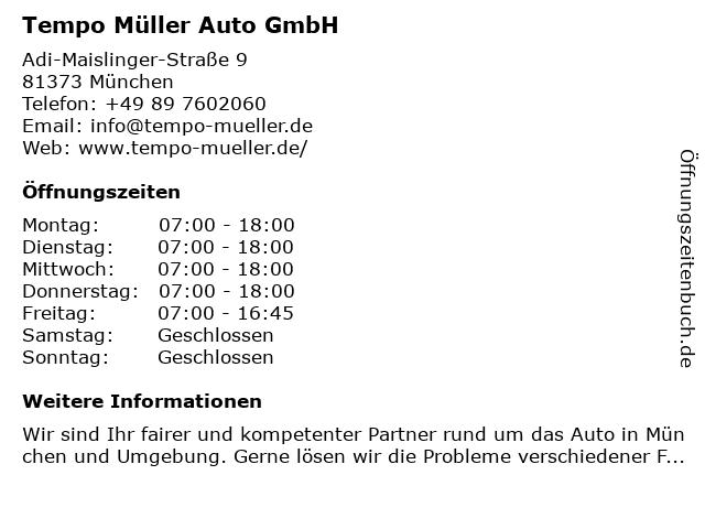 Tempo Müller Auto GmbH in München: Adresse und Öffnungszeiten