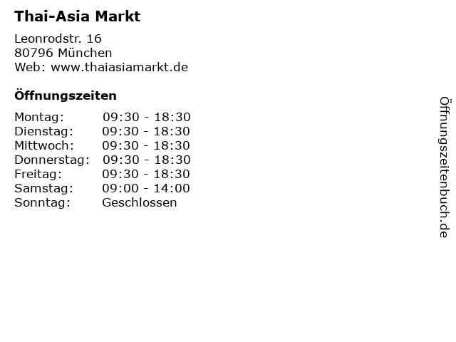 Thai-Asia Markt in München: Adresse und Öffnungszeiten