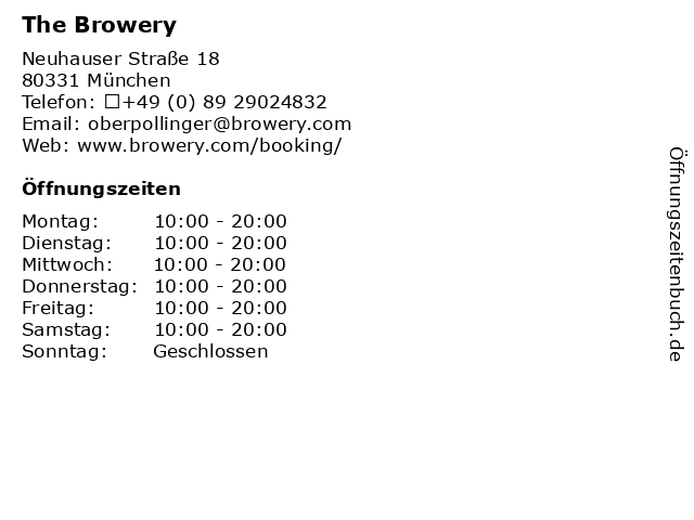The Browery in München: Adresse und Öffnungszeiten
