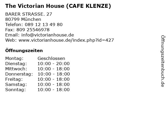 The Victorian House (CAFE KLENZE) in München: Adresse und Öffnungszeiten