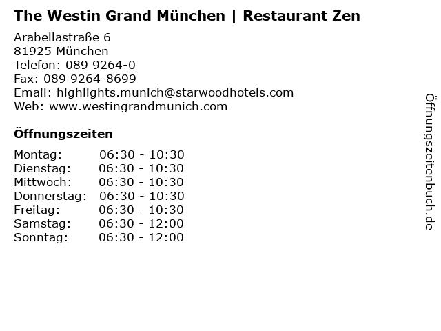 The Westin Grand München | Restaurant Zen in München: Adresse und Öffnungszeiten