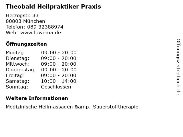 Theobald Heilpraktiker Praxis in München: Adresse und Öffnungszeiten