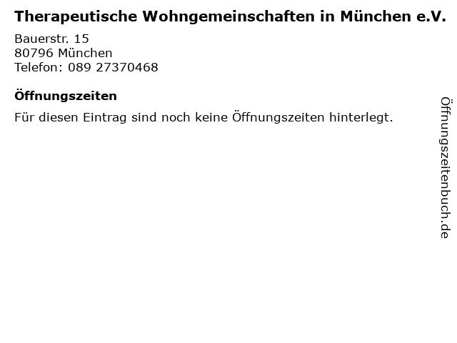 Therapeutische Wohngemeinschaften in München e.V. in München: Adresse und Öffnungszeiten