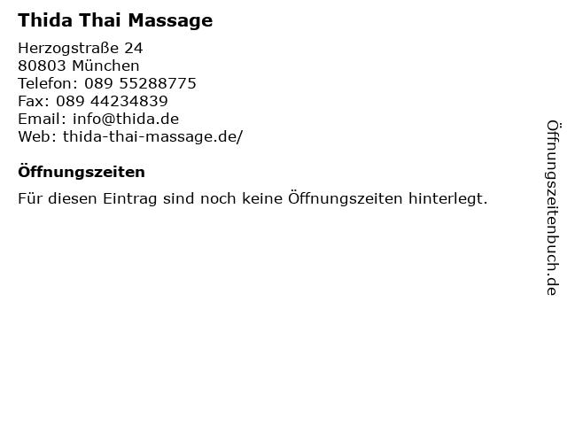 Thida Thai Massage in München: Adresse und Öffnungszeiten