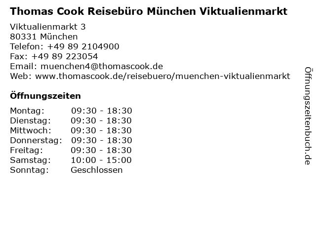 Thomas Cook Reisebüro München Viktualienmarkt in München: Adresse und Öffnungszeiten