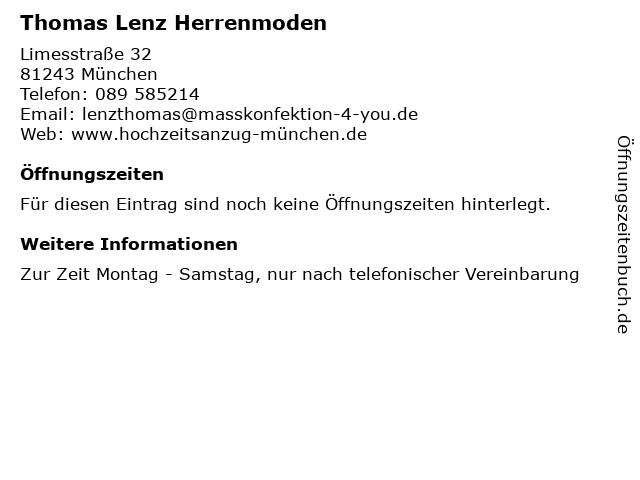 Thomas Lenz Herrenmoden in München: Adresse und Öffnungszeiten