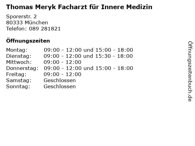 Thomas Meryk Facharzt für Innere Medizin in München: Adresse und Öffnungszeiten