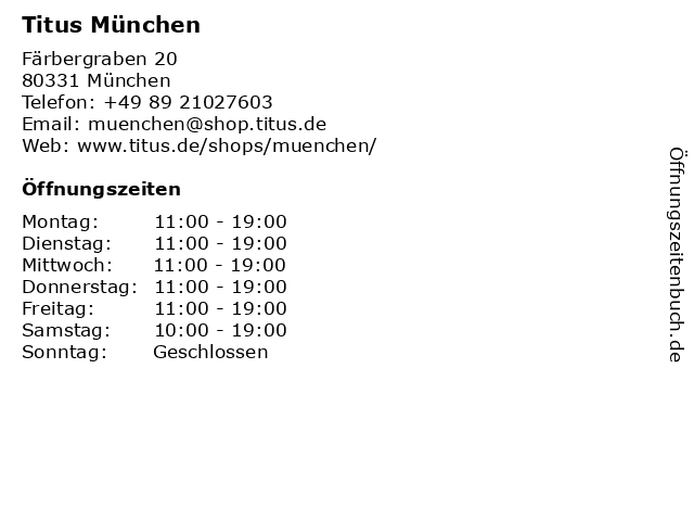 Titus München in München: Adresse und Öffnungszeiten