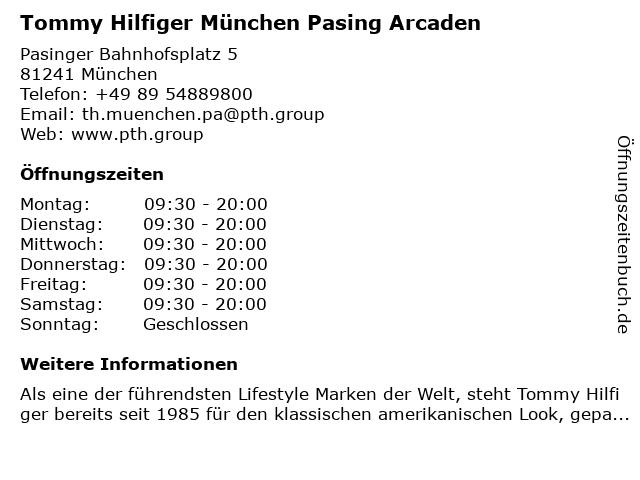 Tommy Hilfiger München Pasing Arcaden in München: Adresse und Öffnungszeiten