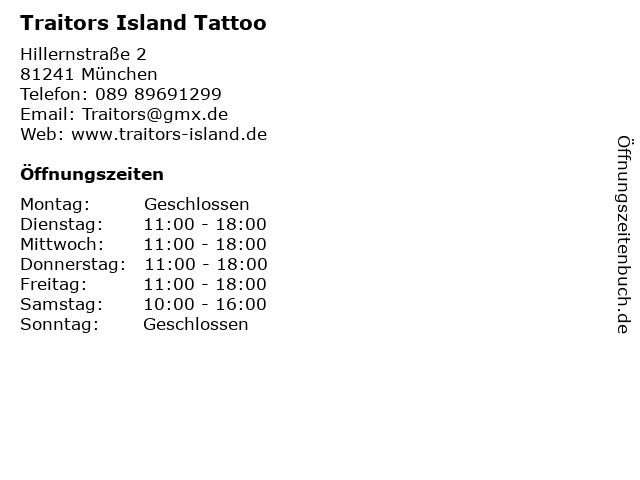 Traitors Island Tattoo in München: Adresse und Öffnungszeiten