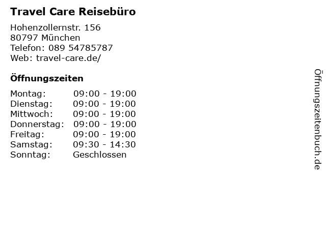 Travel Care Reisebüro in München: Adresse und Öffnungszeiten