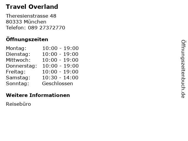 Travel Overland in München: Adresse und Öffnungszeiten