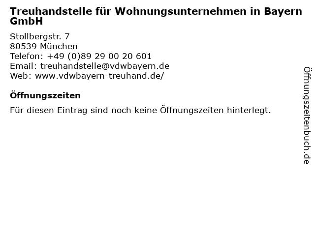 Treuhandstelle für Wohnungsunternehmen in Bayern GmbH in München: Adresse und Öffnungszeiten