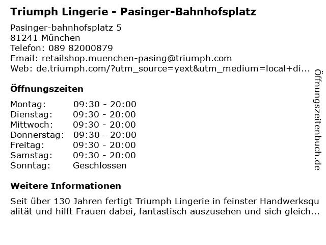 Triumph Lingerie - Pasinger-Bahnhofsplatz in München: Adresse und Öffnungszeiten