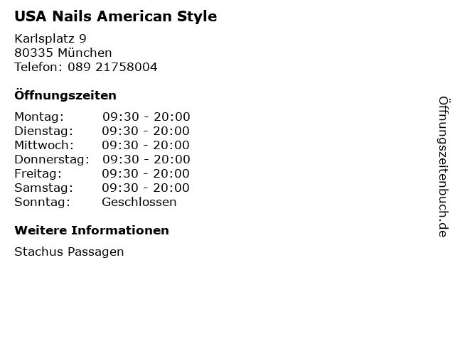 USA Nails American Style in München: Adresse und Öffnungszeiten