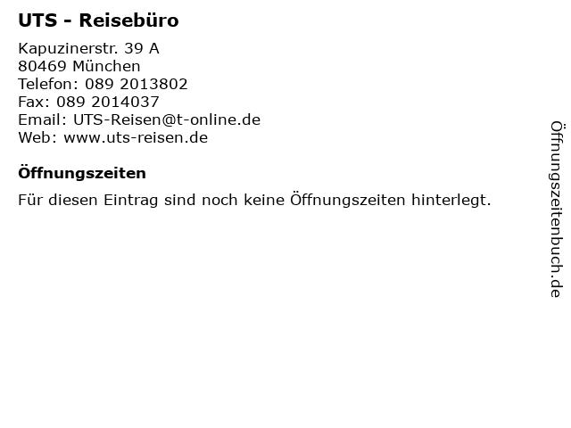 UTS - Reisebüro in München: Adresse und Öffnungszeiten