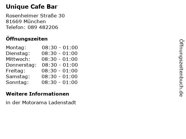 Unique Cafe Bar in München: Adresse und Öffnungszeiten