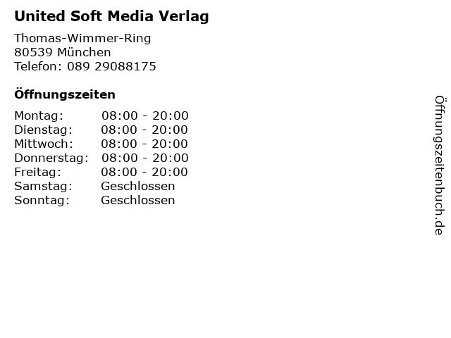 United Soft Media Verlag in München: Adresse und Öffnungszeiten