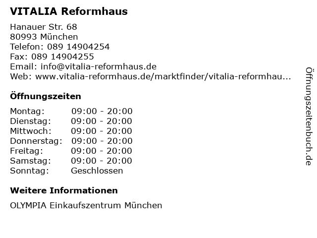 VITALIA Reformhaus in München: Adresse und Öffnungszeiten