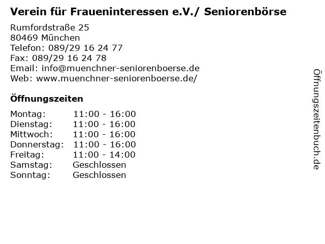 Verein für Fraueninteressen e.V./ Seniorenbörse in München: Adresse und Öffnungszeiten