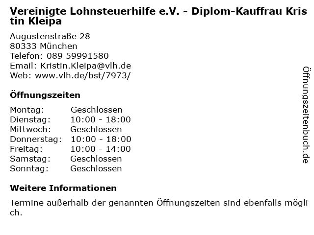 Vereinigte Lohnsteuerhilfe e.V. - Diplom-Kauffrau Kristin Kleipa in München: Adresse und Öffnungszeiten