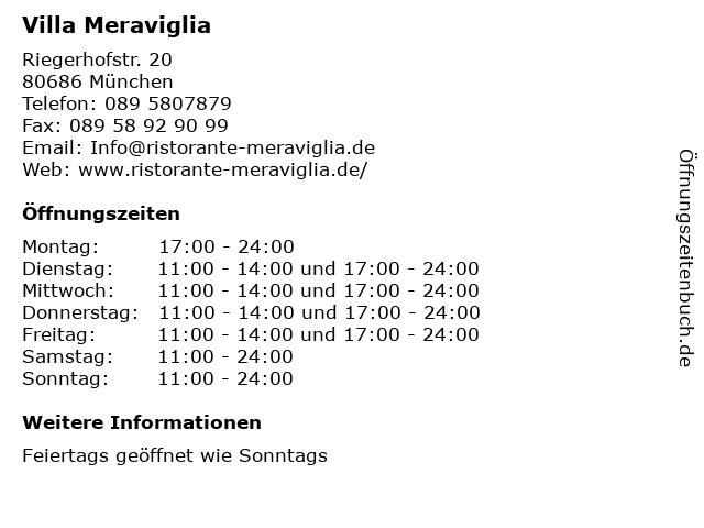 Villa Meraviglia in München: Adresse und Öffnungszeiten