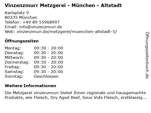 Vinzenzmurr Metzgerei - München - Altstadt in München: Adresse und Öffnungszeiten
