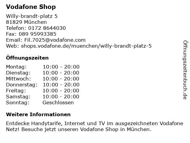 Vodafone Shop in München: Adresse und Öffnungszeiten