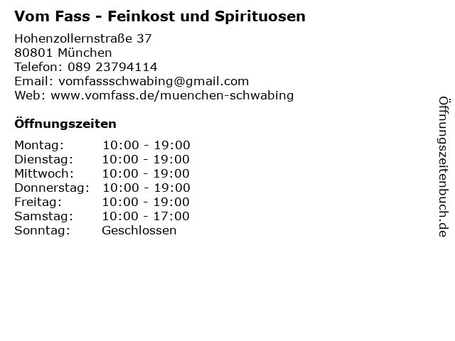 Vom Fass - Feinkost und Spirituosen in München: Adresse und Öffnungszeiten
