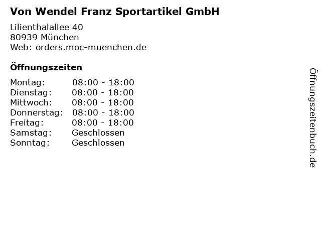 Von Wendel Franz Sportartikel GmbH in München: Adresse und Öffnungszeiten