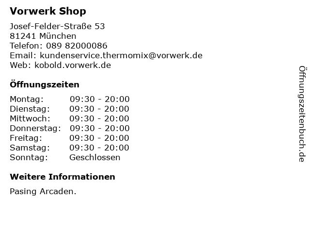 Vorwerk Shop in München: Adresse und Öffnungszeiten