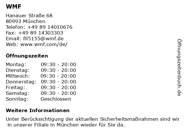 WMF in München: Adresse und Öffnungszeiten