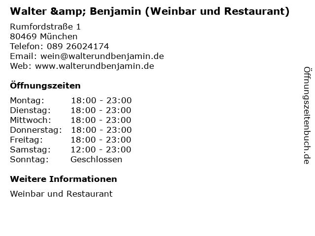 Walter & Benjamin (Weinbar und Restaurant) in München: Adresse und Öffnungszeiten