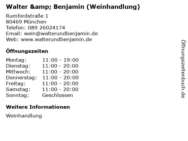 Walter & Benjamin (Weinhandlung) in München: Adresse und Öffnungszeiten