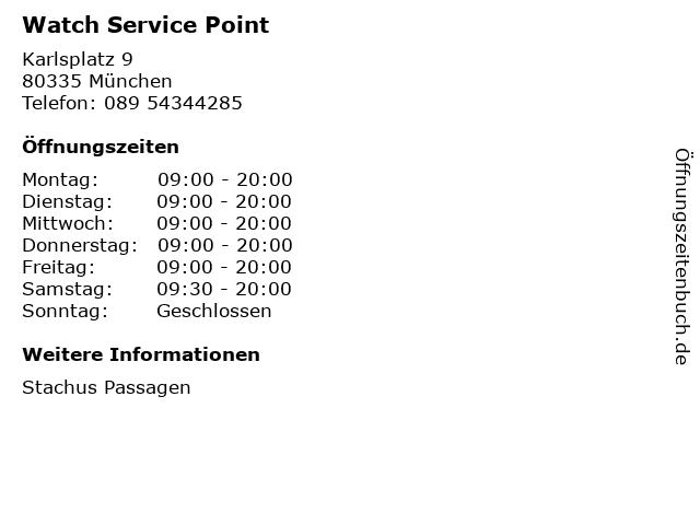 Watch Service Point in München: Adresse und Öffnungszeiten