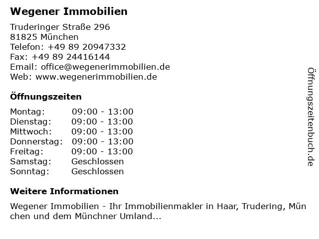 Wegener Immobilien in München: Adresse und Öffnungszeiten