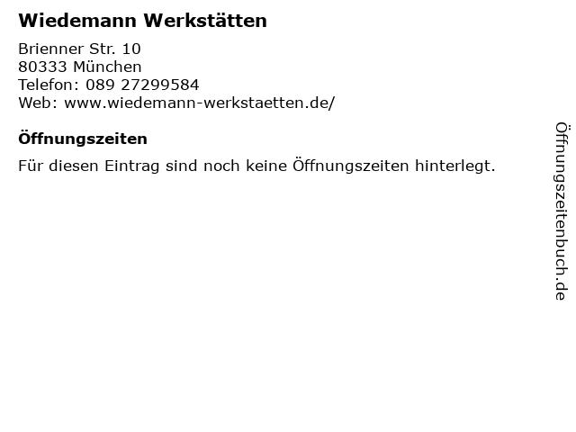 Wiedemann Werkstätten in München: Adresse und Öffnungszeiten