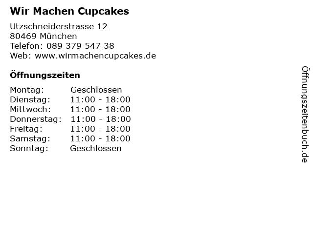 Wir Machen Cupcakes in München: Adresse und Öffnungszeiten
