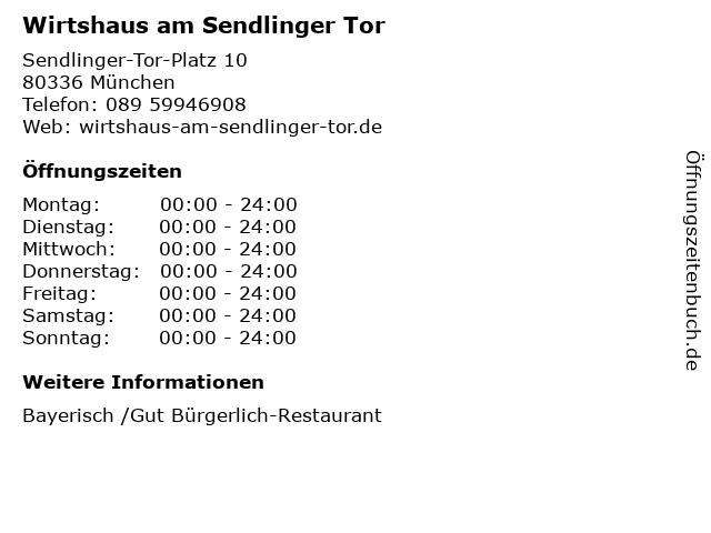 Wirtshaus am Sendlinger Tor in München: Adresse und Öffnungszeiten