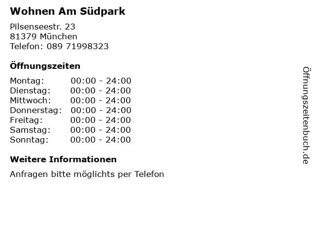 Wohnen Am Südpark in München: Adresse und Öffnungszeiten