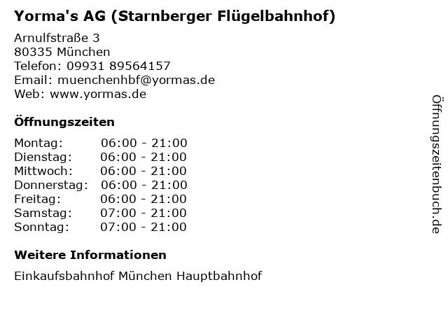 Yorma's AG (Starnberger Flügelbahnhof) in München: Adresse und Öffnungszeiten
