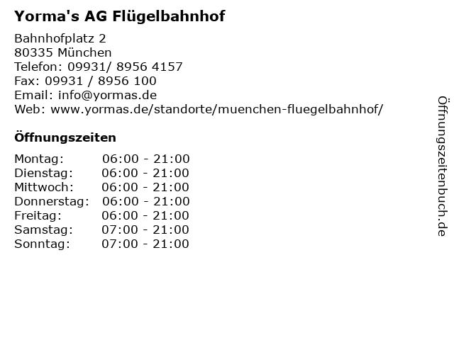 Yorma's AG Flügelbahnhof in München: Adresse und Öffnungszeiten