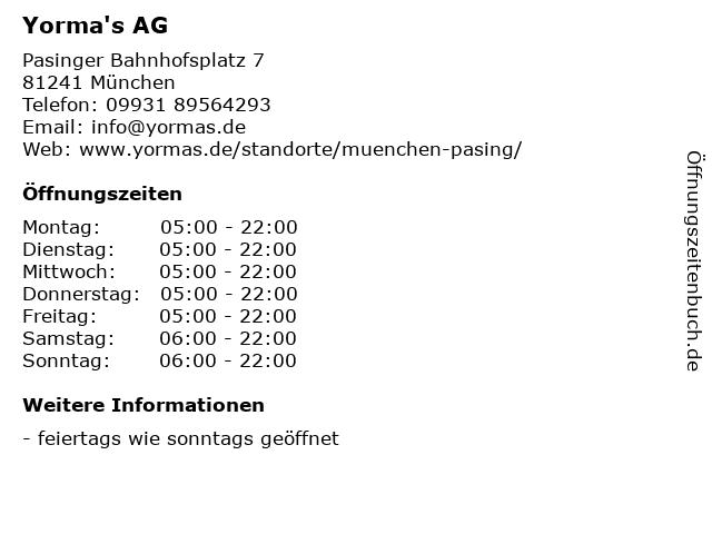 Yorma's AG in München: Adresse und Öffnungszeiten