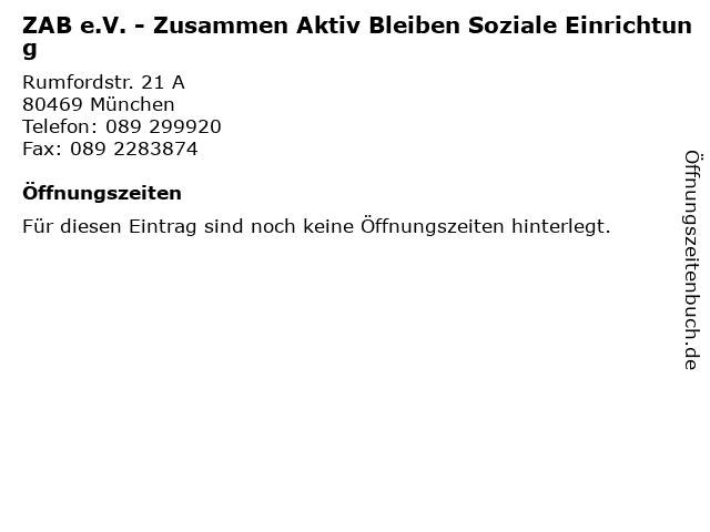 ZAB e.V. - Zusammen Aktiv Bleiben Soziale Einrichtung in München: Adresse und Öffnungszeiten