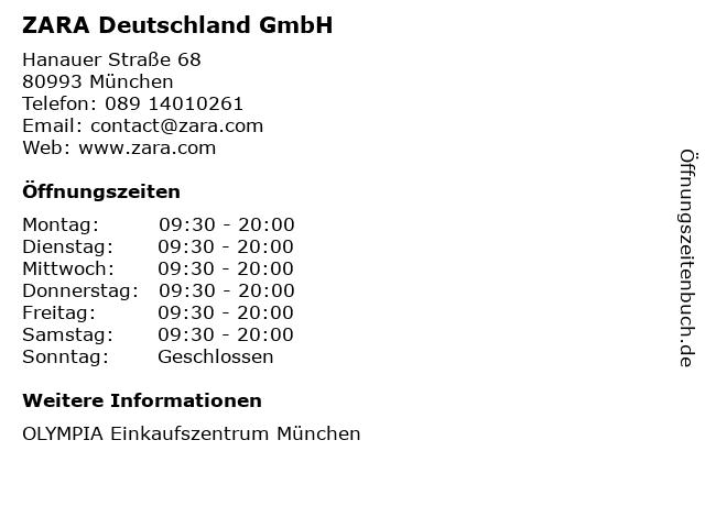 ZARA Deutschland GmbH in München: Adresse und Öffnungszeiten