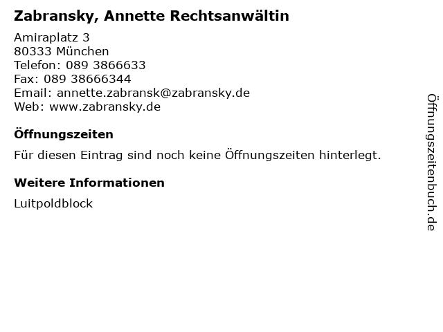 Zabransky, Annette Rechtsanwältin in München: Adresse und Öffnungszeiten