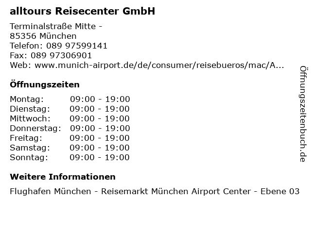 alltours Reisecenter GmbH in München: Adresse und Öffnungszeiten