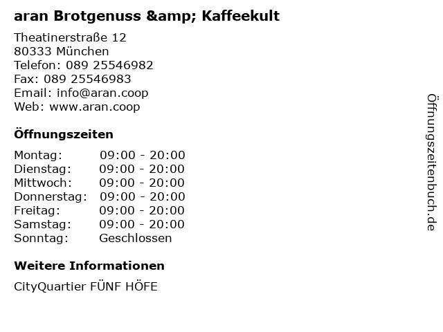 aran Brotgenuss & Kaffeekult in München: Adresse und Öffnungszeiten