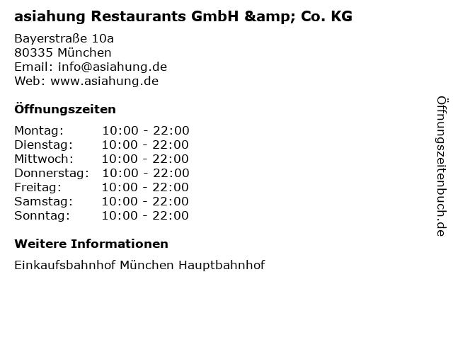 asiahung Restaurants GmbH & Co. KG in München: Adresse und Öffnungszeiten